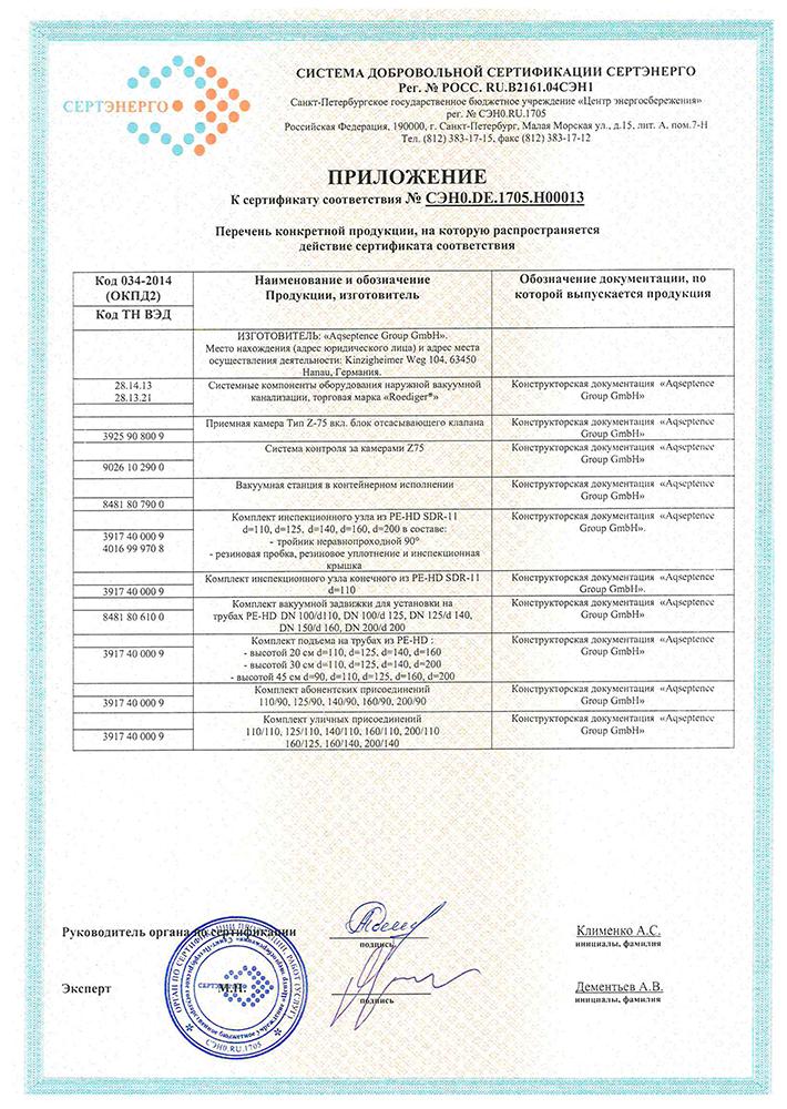Сертификат соответствия оборудования вакуумной канализации Roediger®