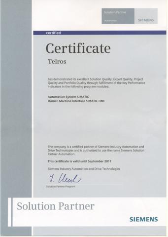 Сертификат Siemens Solution Partner